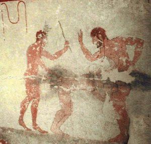 Straf op de billen is iets van alle culturen, alle landen en alle tijden. Deze rotstekening is uit de Tomba della Fustigazione, 6de eeuw voor Christus.