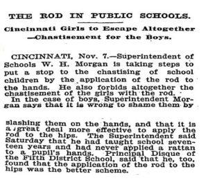 Een krantenartikel uit 1898 waarin staat dat jongens in het vervolg alleem maar straf op hun billen mogen krijgen.