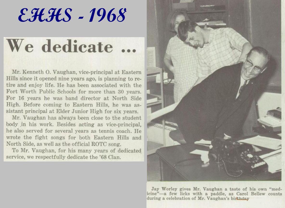 Krantenartikel bij het afscheid van Ken Vaugh als vice-principal van de Eastern Hills High School in Fort Worth.